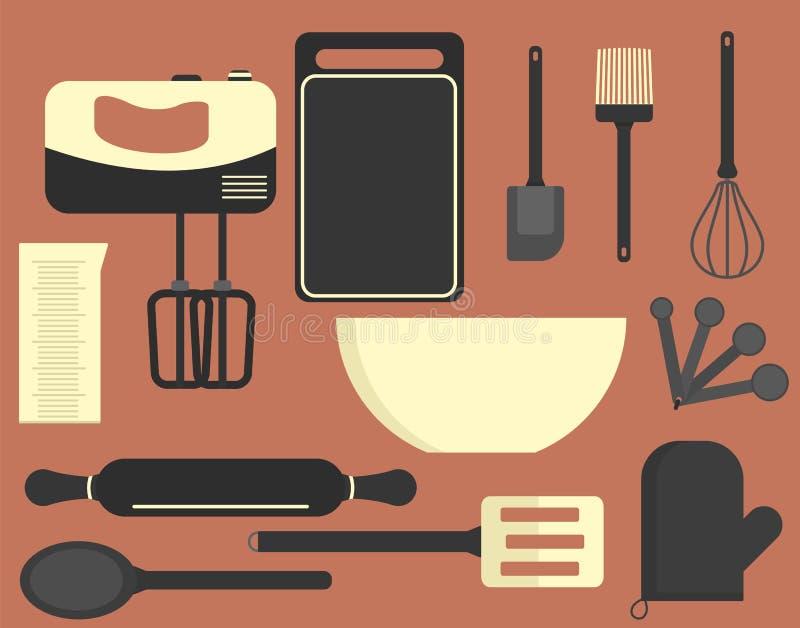 Insieme piano del forno dell'attrezzatura della cucina royalty illustrazione gratis