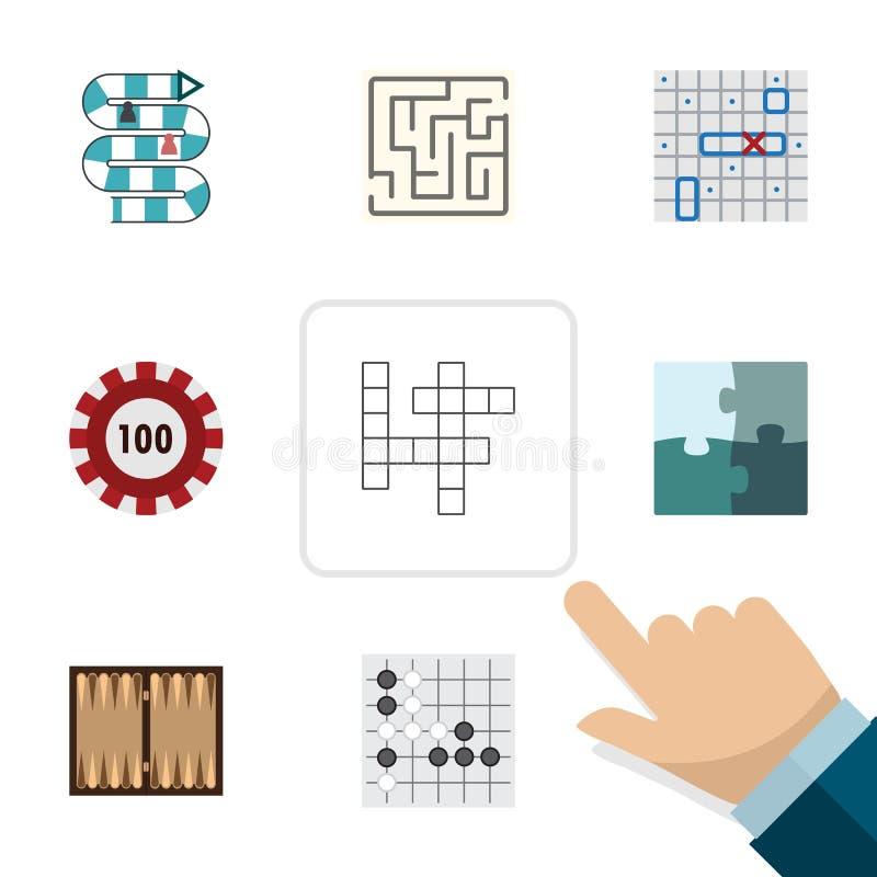 Insieme piano del gioco dell'icona dei dadi, di Gomoku, del poker e di altri oggetti di vettore Inoltre include il labirinto, la  illustrazione di stock