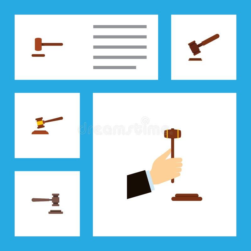 Insieme piano del martello dell'icona del martello, difesa, oggetti di And Other Vector della giustizia Inoltre comprende la dife royalty illustrazione gratis