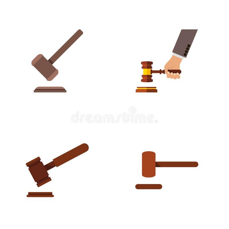 Insieme piano del martello dell'icona del tribunale, della giustizia, della difesa e di altri oggetti di vettore Inoltre comprend illustrazione vettoriale