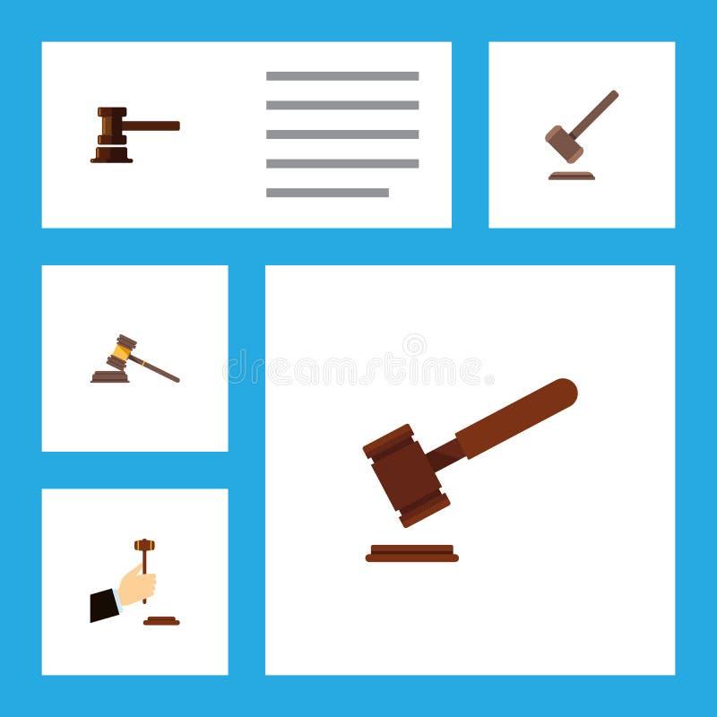 Insieme piano del martello dell'icona di legge, di giustizia, della costruzione di governo e di altri oggetti di vettore Inoltre  illustrazione di stock