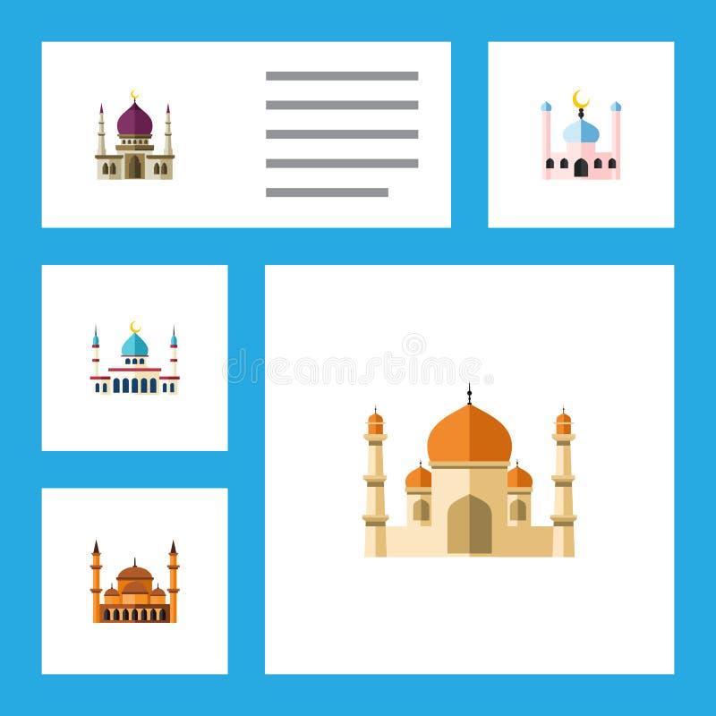 Insieme piano del minareto dell'icona di tradizionale, di maomettismo, di Islam e di altri oggetti di vettore Inoltre comprende l illustrazione vettoriale