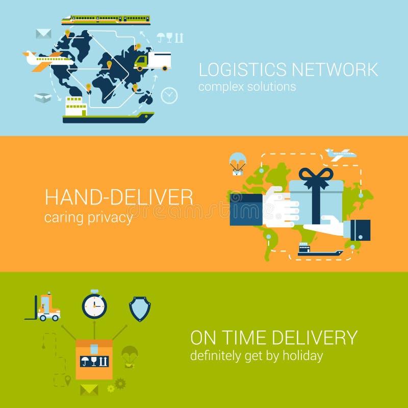 Insieme piano del modello delle insegne di web di concetto di consegna di logistica illustrazione vettoriale