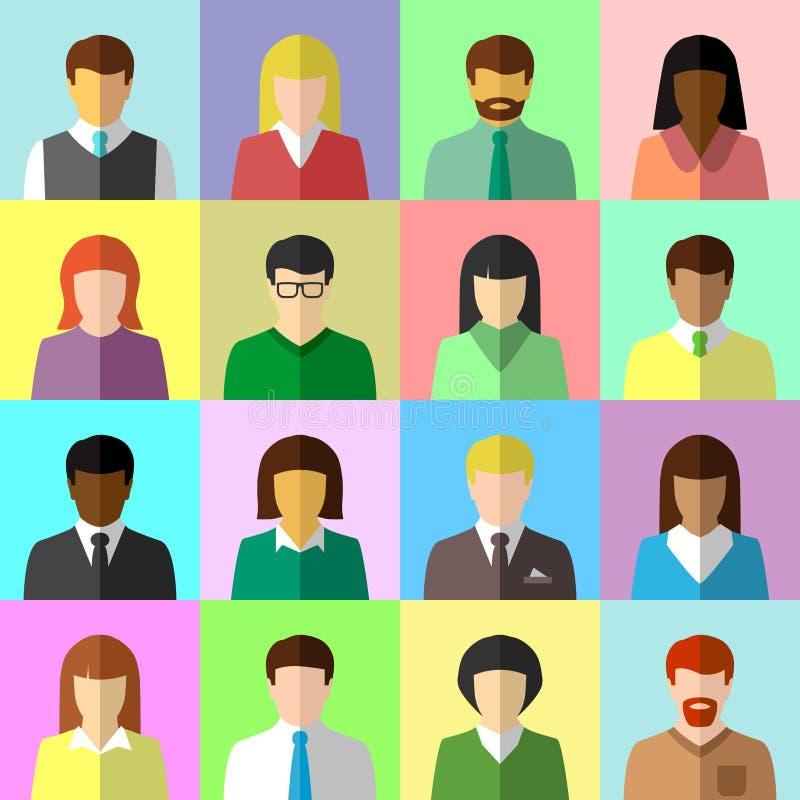 Insieme piano dell'avatar di diversa gente di affari illustrazione vettoriale