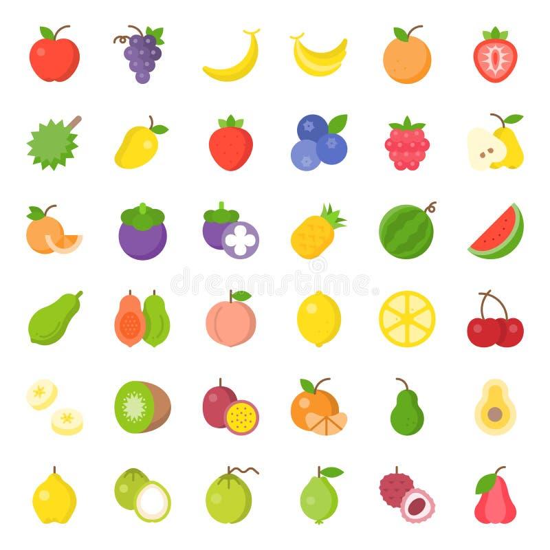 Insieme piano dell'icona della frutta sveglia, quale l'arancia, kiwi, noce di cocco, banana, illustrazione di stock
