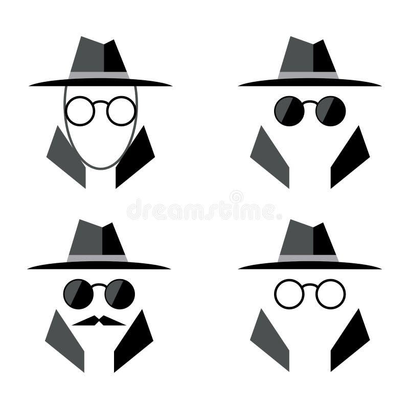 Insieme piano dell 39 icona della spia in incognito logo dell for Planimetrie della caverna dell uomo