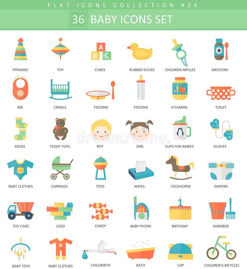Insieme piano dell'icona di colore del bambino di vettore Progettazione di stile elegante royalty illustrazione gratis