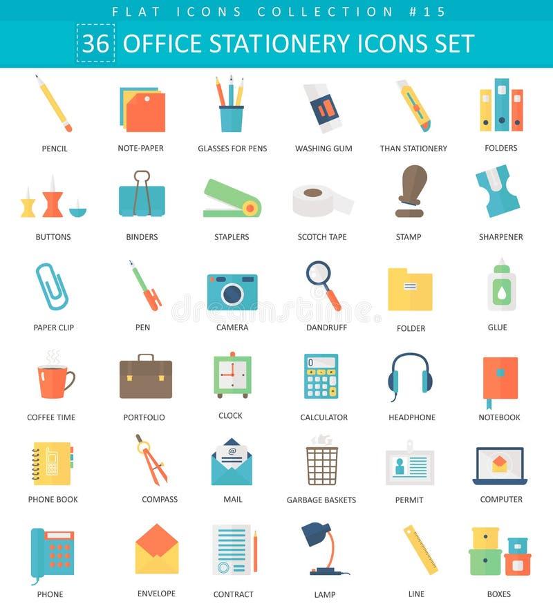 Insieme piano dell'icona di colore della cancelleria dell'ufficio di vettore Progettazione di stile elegante royalty illustrazione gratis