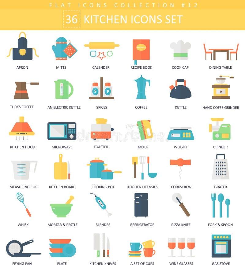 Insieme piano dell'icona di colore della cucina di vettore Progettazione di stile elegante royalty illustrazione gratis