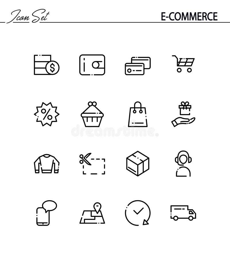 Insieme piano dell'icona di commercio elettronico illustrazione di stock