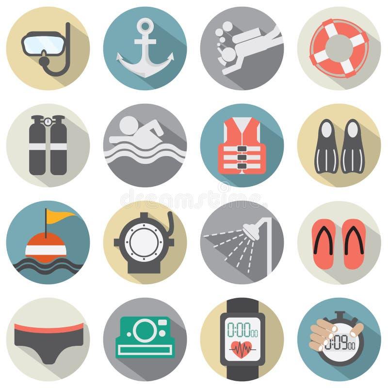 Insieme piano dell'icona di immersione subacquea di progettazione royalty illustrazione gratis