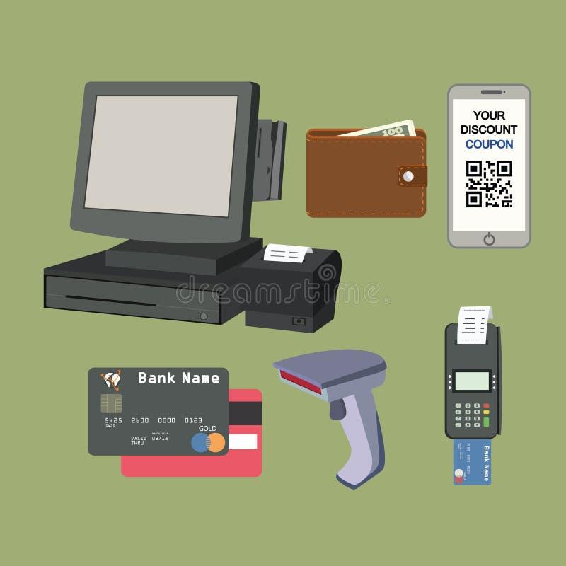 Insieme piano dell'icona di pagamento immagine stock
