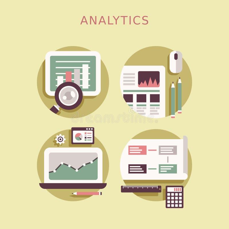 Insieme piano dell'icona di progettazione degli elementi di analisi dei dati illustrazione di stock