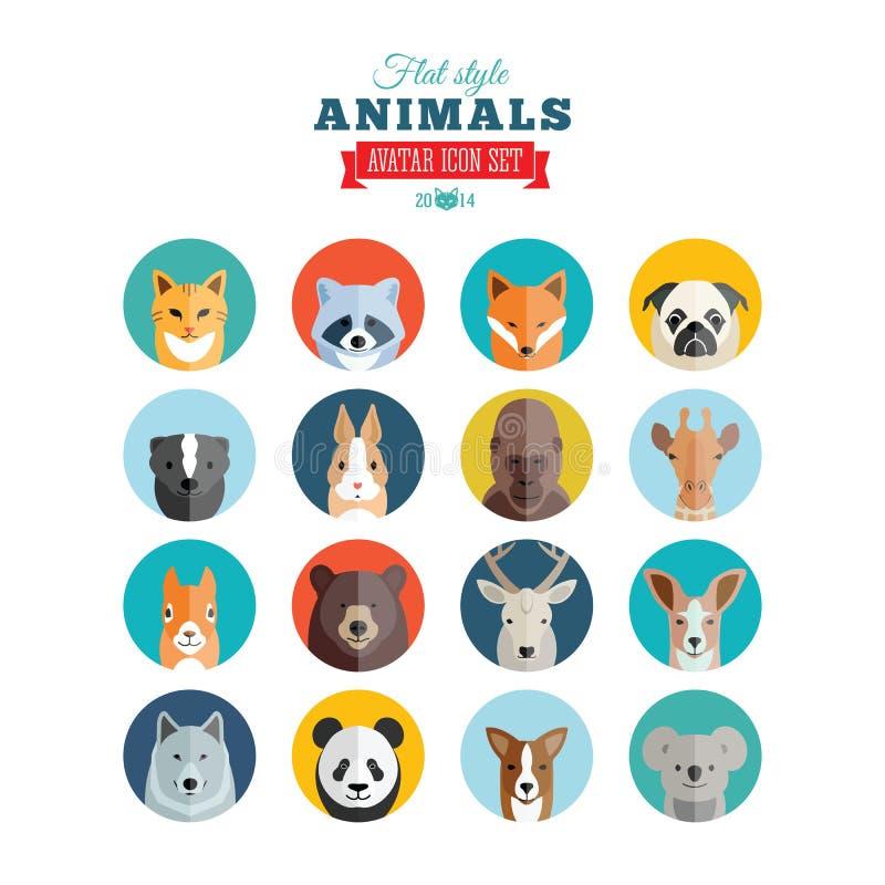 Insieme piano dell'icona di vettore dell'avatar degli animali di stile royalty illustrazione gratis