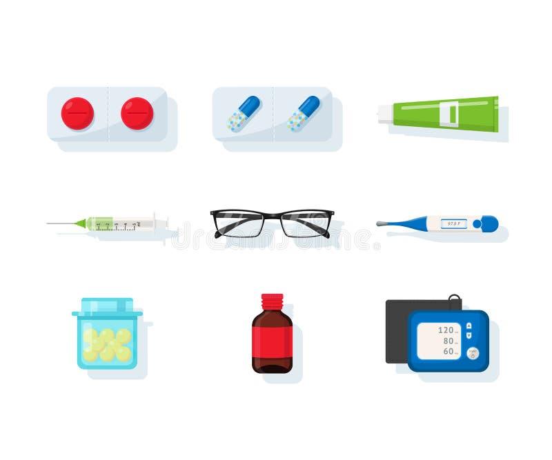 Insieme piano dell'illustrazione dell'assortimento della farmacia illustrazione di stock