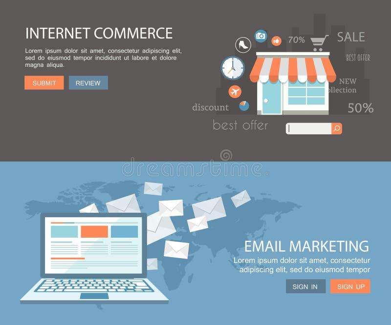Insieme piano dell'insegna Illustrati di commercio di Internet e di vendita del email illustrazione di stock