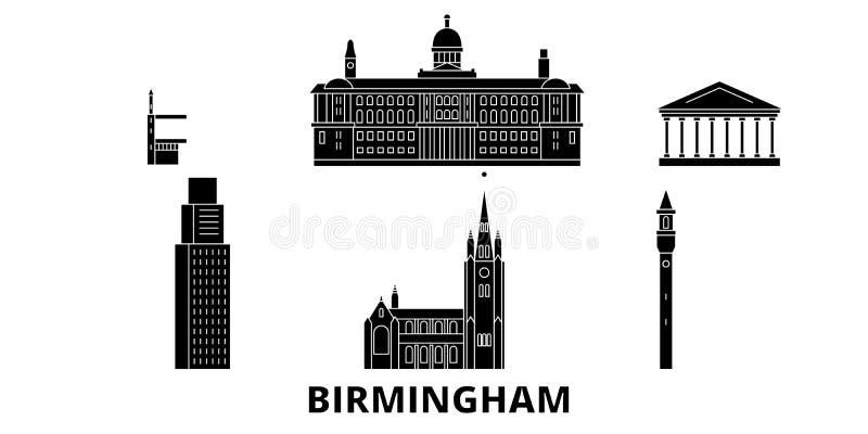 Insieme piano dell'orizzonte di viaggio del Regno Unito, Birmingham Illustrazione di vettore della città del nero del Regno Unito royalty illustrazione gratis