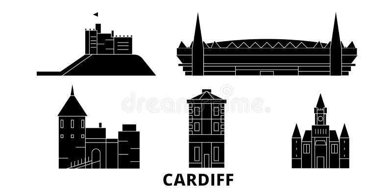 Insieme piano dell'orizzonte di viaggio del Regno Unito, Cardiff Illustrazione di vettore della città del nero del Regno Unito, C illustrazione di stock