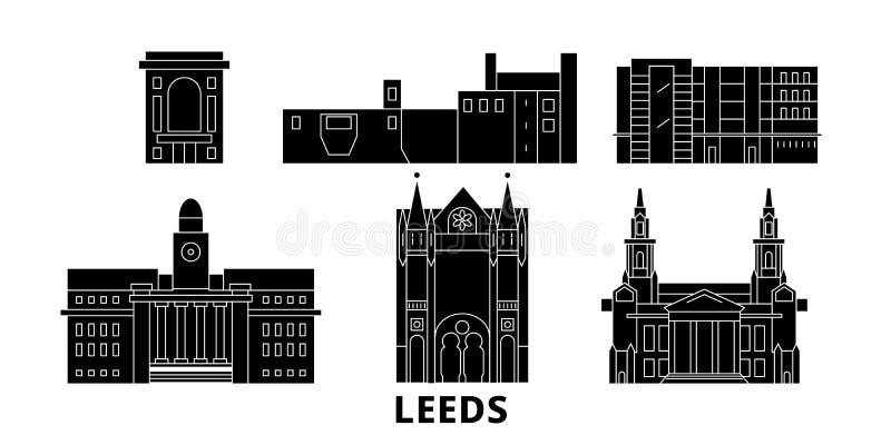 Insieme piano dell'orizzonte di viaggio del Regno Unito, Leeds Illustrazione di vettore della città del nero del Regno Unito, Lee illustrazione vettoriale