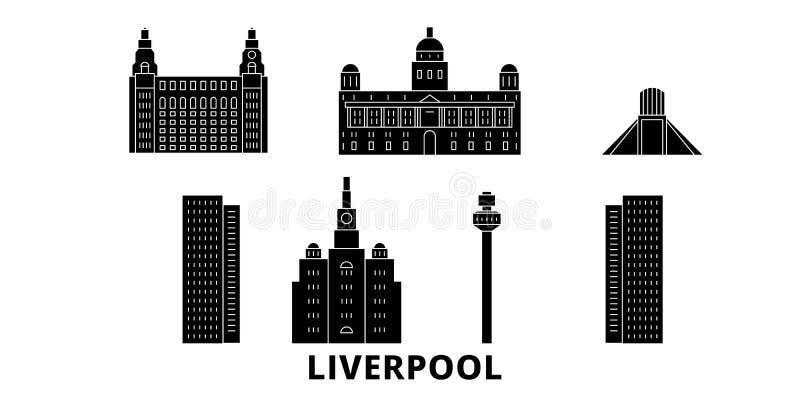 Insieme piano dell'orizzonte di viaggio del Regno Unito, Liverpool Illustrazione di vettore della città del nero del Regno Unito, illustrazione di stock