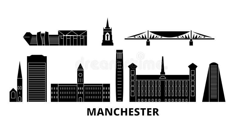Insieme piano dell'orizzonte di viaggio del Regno Unito, Manchester Illustrazione di vettore della città del nero del Regno Unito illustrazione vettoriale