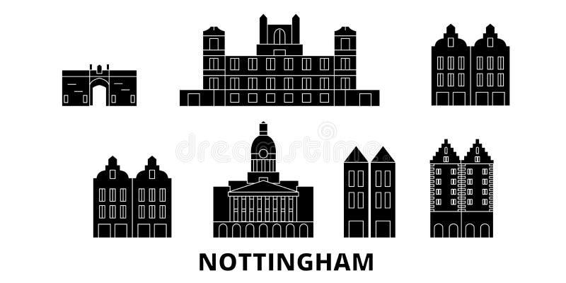 Insieme piano dell'orizzonte di viaggio del Regno Unito, Nottingham Illustrazione di vettore della città del nero del Regno Unito royalty illustrazione gratis
