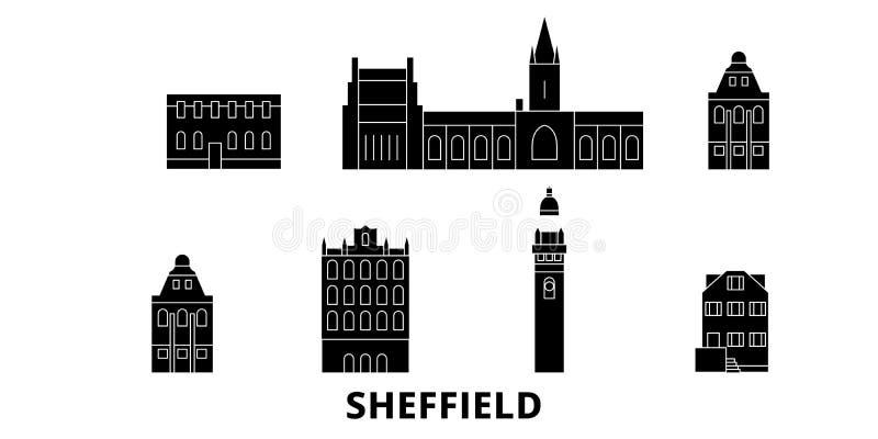 Insieme piano dell'orizzonte di viaggio del Regno Unito, Sheffield Illustrazione di vettore della città del nero del Regno Unito, illustrazione di stock