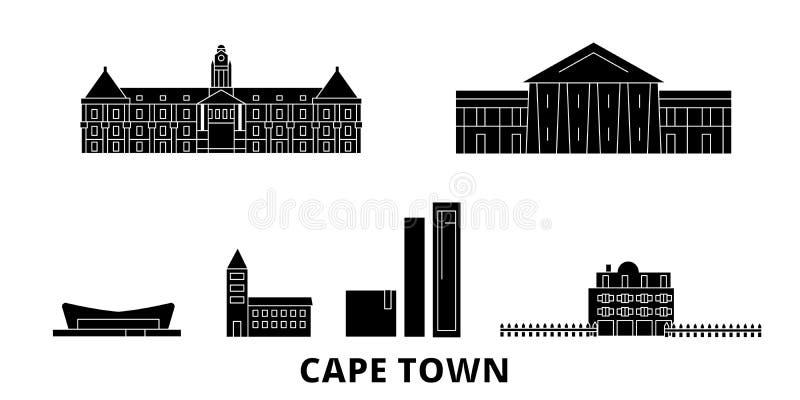 Insieme piano dell'orizzonte di viaggio del Sudafrica, Cape Town Illustrazione di vettore della città del nero del Sudafrica, Cap illustrazione vettoriale