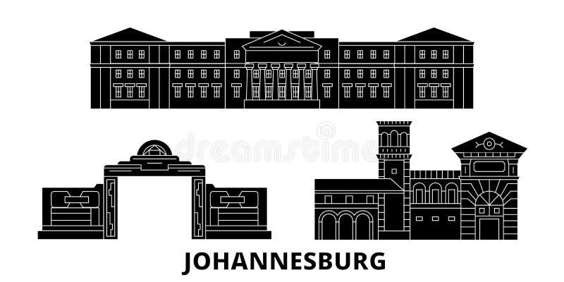 Insieme piano dell'orizzonte di viaggio del Sudafrica, Johannesburg Illustrazione di vettore della città del nero del Sudafrica,  illustrazione vettoriale