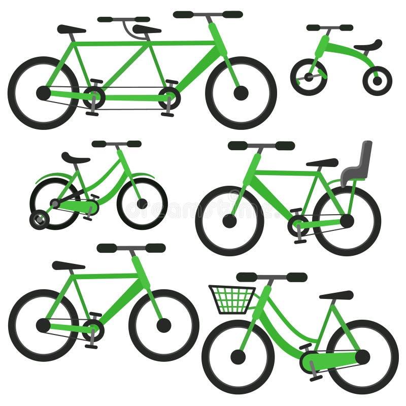 Insieme piano della bicicletta di vettore di verde del fumetto illustrazione di stock