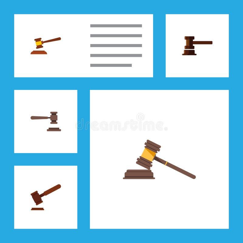 Insieme piano della corte dell'icona di oggetti legali ed altro della giustizia, della corte, di vettore Inoltre include il marte illustrazione vettoriale