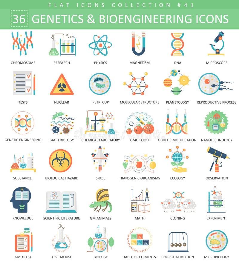 Insieme piano della genetica di vettore e dell'icona di bioingegneria Progettazione di stile elegante illustrazione di stock