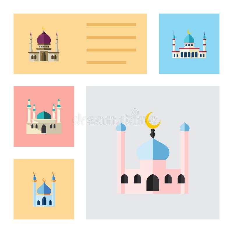 Insieme piano della moschea dell'icona di tradizionale, della struttura, dell'Islam e di altri oggetti di vettore Inoltre include illustrazione vettoriale