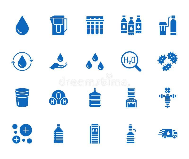 Insieme piano delle icone di glifo della goccia di acqua L'acqua filtra, emolliente, ionizzazione, la disinfezione, illustrazioni royalty illustrazione gratis