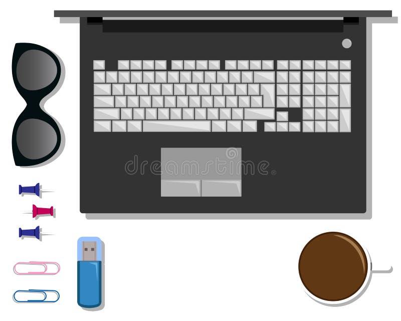 Insieme piano di cancelleria sulla tavola con il computer portatile royalty illustrazione gratis