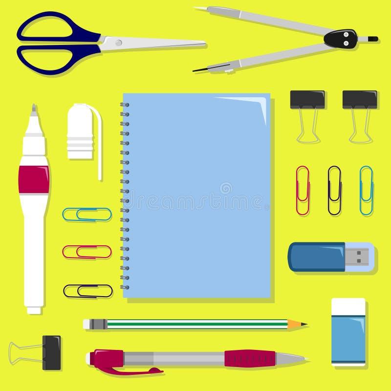 Insieme piano di cancelleria sulla tavola Insieme di vettore dell'ufficio o della scuola illustrazione vettoriale