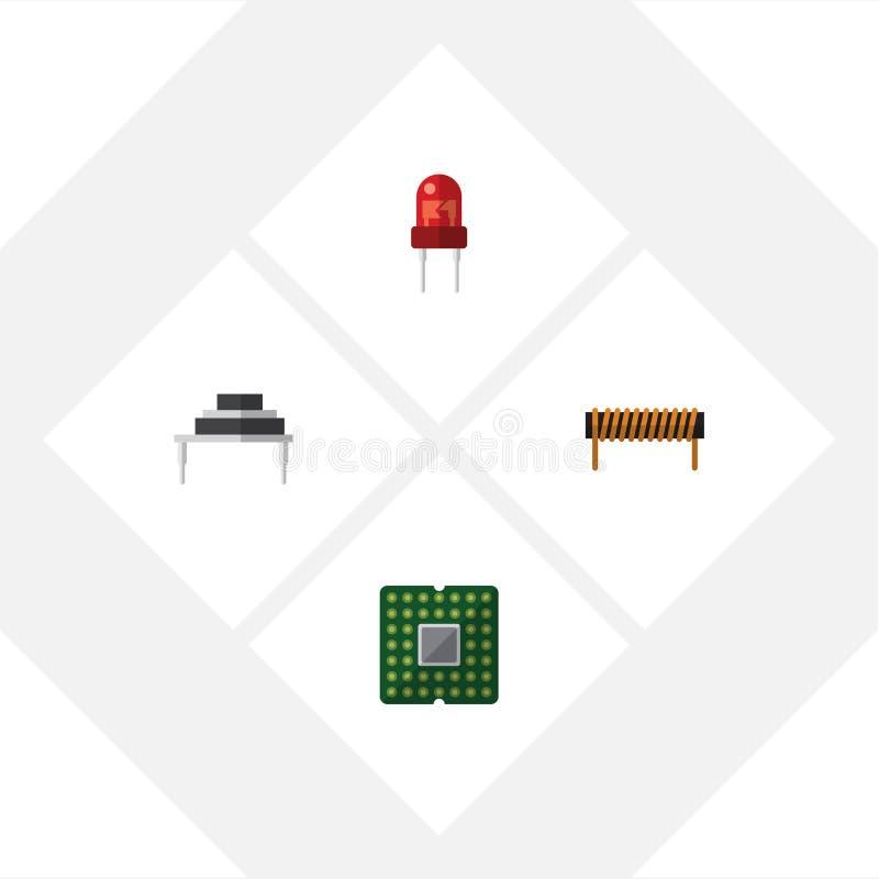 Insieme piano di elettronica dell'icona del destinatario, della bobina, dell'unità e di altri oggetti di vettore Inoltre include  illustrazione vettoriale