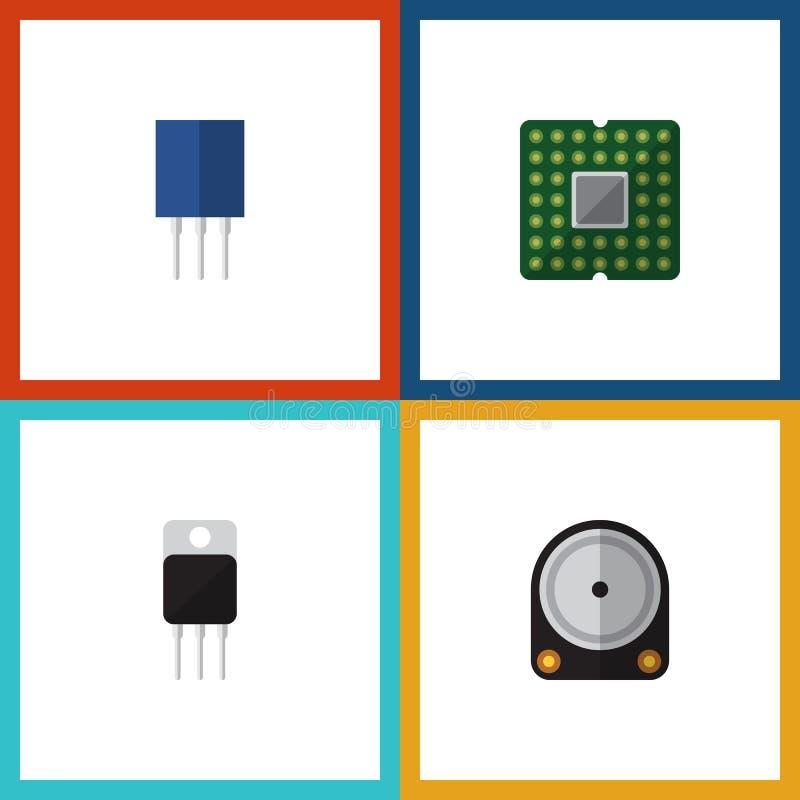 Insieme piano di elettronica dell'icona del ricevitore, del recipiente, dell'unità e di altri oggetti di vettore Inoltre include  royalty illustrazione gratis