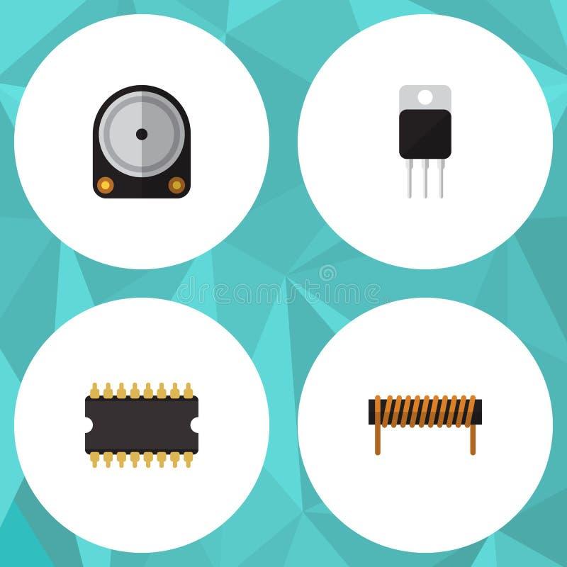 Insieme piano di elettronica dell'icona della bobina, del ricevitore, del microprocessore e di altri oggetti di vettore Inoltre i illustrazione vettoriale