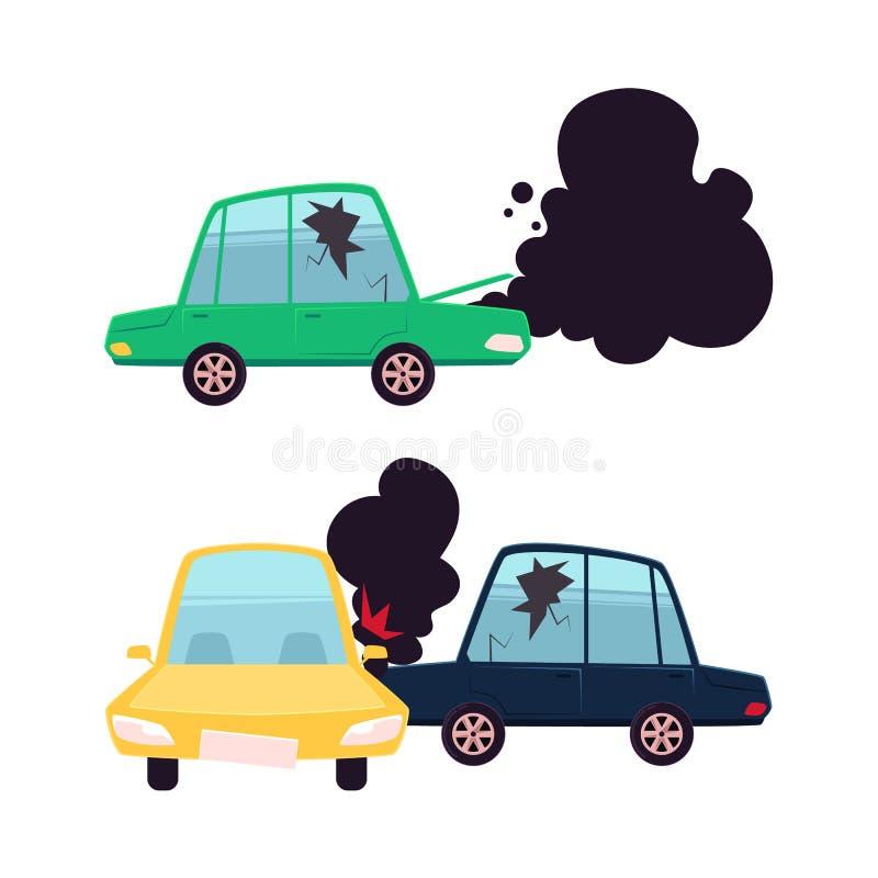 Insieme piano di incidente di incidente stradale del fumetto di vettore illustrazione di stock