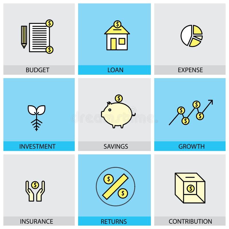 Insieme piano di progettazione della linea icone di vettore di inve di spesa di prestito del bilancio royalty illustrazione gratis
