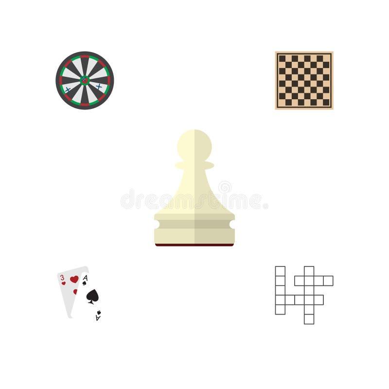 Insieme piano di spettacolo dell'icona della Tabella di scacchi, di Ace, del pegno e di altri oggetti di vettore Inoltre include  royalty illustrazione gratis