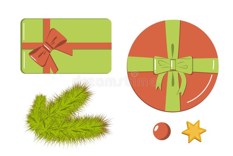 Insieme piano di stile degli elementi della decorazione delle icone - contenitori di regalo, rami realistici dell'abete, stella e illustrazione di stock