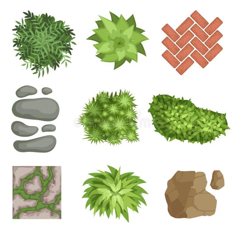 Insieme piano di vettore degli elementi del paesaggio Piante verdi, pietre, tipi differenti di coperture di via Vista superiore illustrazione vettoriale