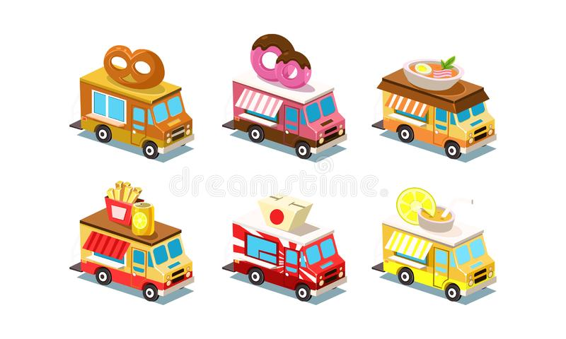 Insieme piano di vettore dei camion isometrici dell'alimento Furgoni con la ciambellina salata, la ciambella, la minestra, le pat illustrazione vettoriale
