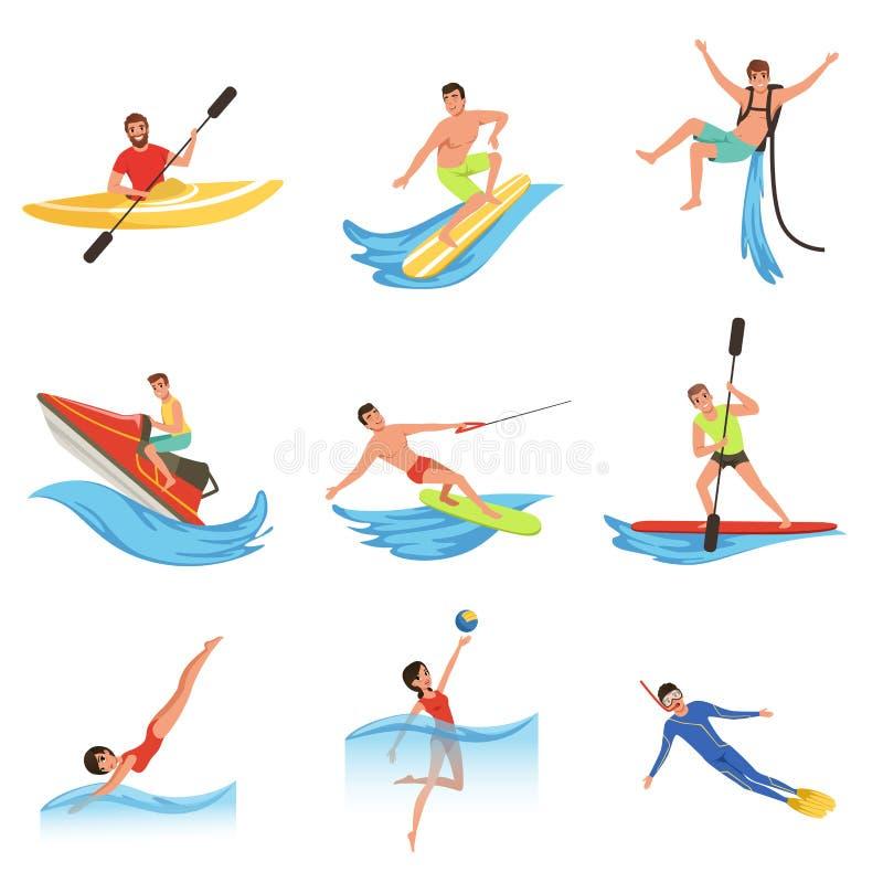 Insieme piano di vettore dei caratteri della gente del fumetto in questione negli sport acquatici estremi Giovani donne ed uomini illustrazione vettoriale