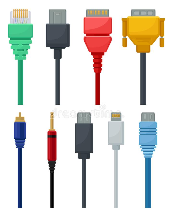 Insieme piano di vettore dei cavi variopinti Video ed audio, USB, DVI e connettore di dati della rete Tema di tecnologia del coll royalty illustrazione gratis