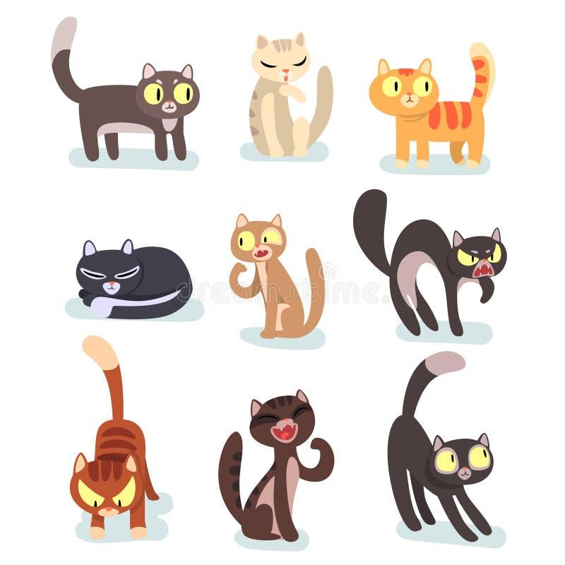 Insieme piano di vettore dei gatti differenti Personaggi dei cartoni animati divertenti Animali domestici domestici Animali domes illustrazione di stock