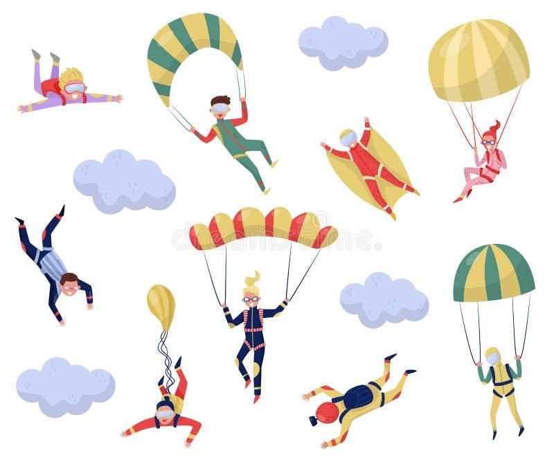 Insieme piano di vettore dei paracadutisti professionali Sport estremo Giovane saltatore del wingsuit Ricreazione attiva Lanciar  royalty illustrazione gratis