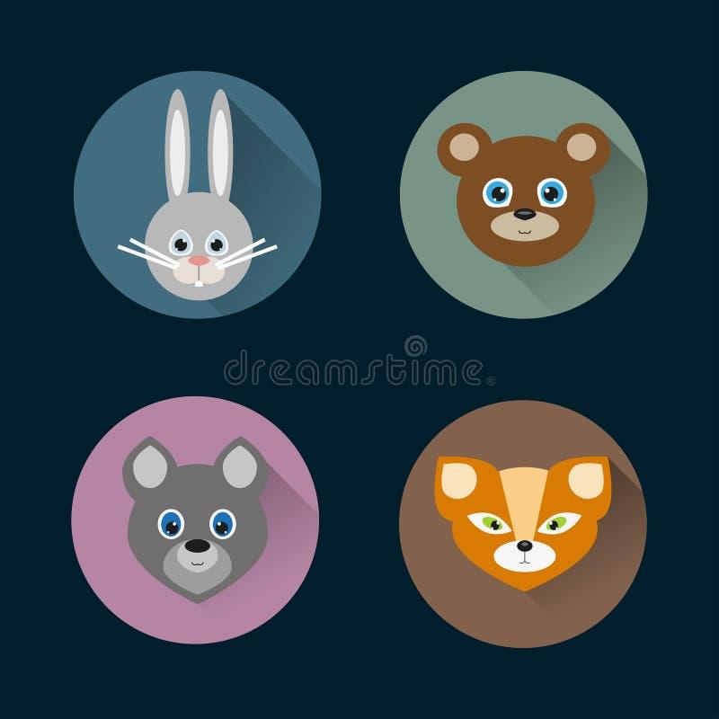 Insieme piano di vettore delle icone degli animali di stile fotografie stock